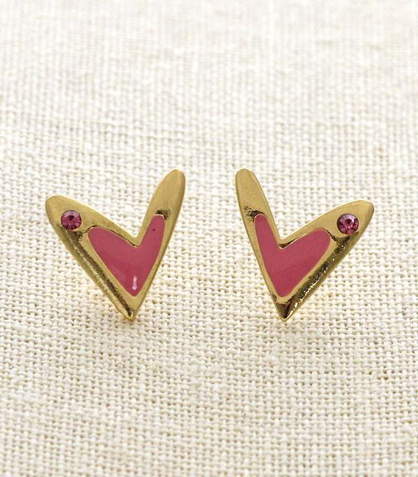 New Arrival :: Wholesale Pink Heart Stud Earrings