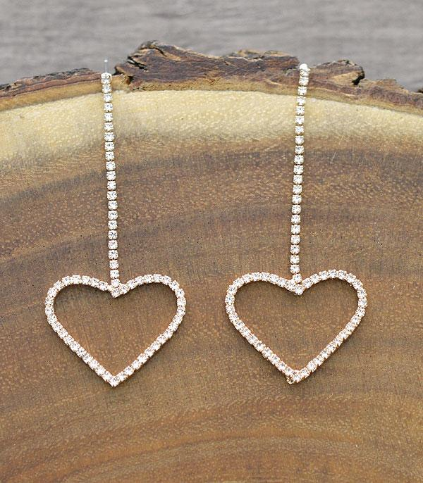 New Arrival :: Wholesale Rhinestone Heart Drop Earrings