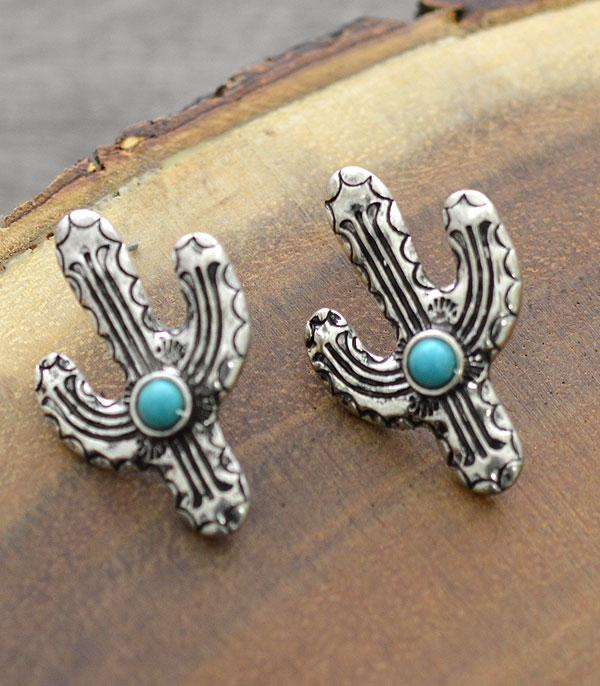 New Arrival :: Wholesale Western Cactus Turquoise Earrings
