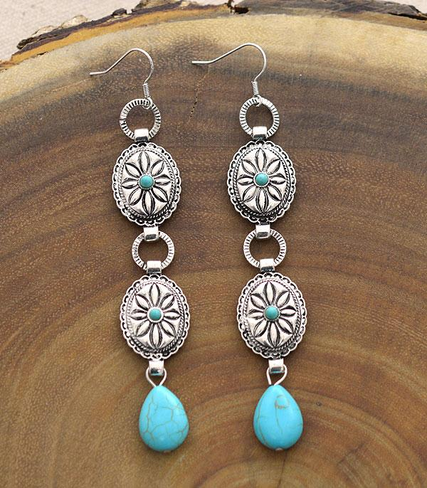 New Arrival :: Wholesale Tipi Western Concho Drop Earrings