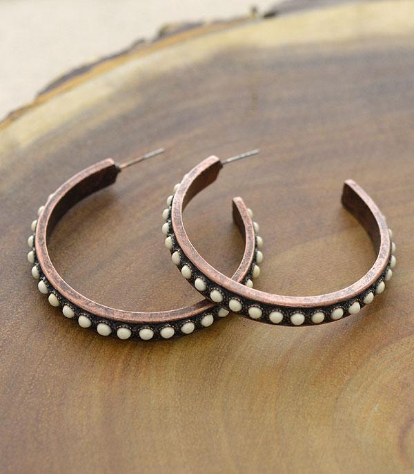 New Arrival :: Wholesale Turquoise Western Hoop Earrings