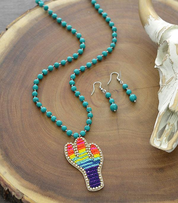 New Arrival :: Wholesale Tipi Cactus Seed Bead Pendant Necklace