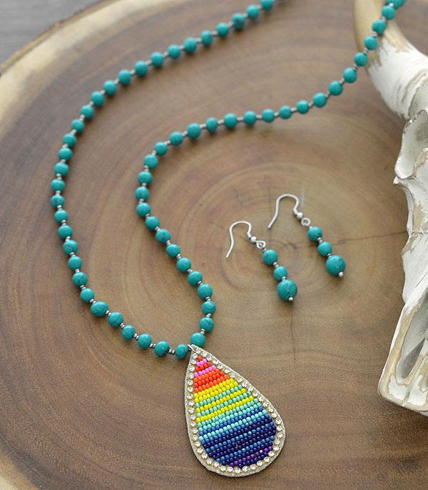 New Arrival :: Wholesale Tipi Serape Seed Bead Necklace Set