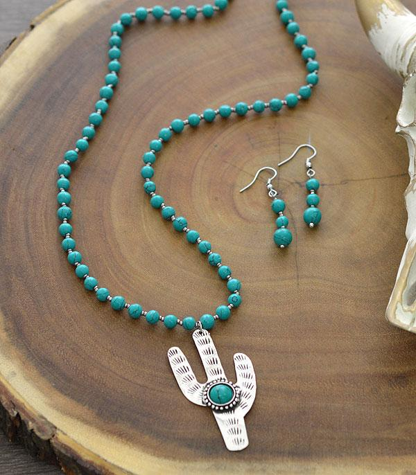 New Arrival :: Wholesale Tipi Cactus Turquoise Necklace Set