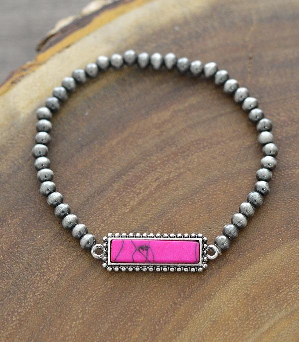 New Arrival :: Wholesale Navajo Pearl Bead Stone Bar Bracelet