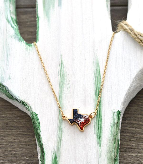 New Arrival :: Wholesale Texas Map Druzy Pendant Necklace