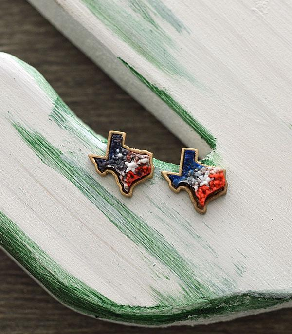 New Arrival :: Wholesale Texas Map Druzy Post Earrings