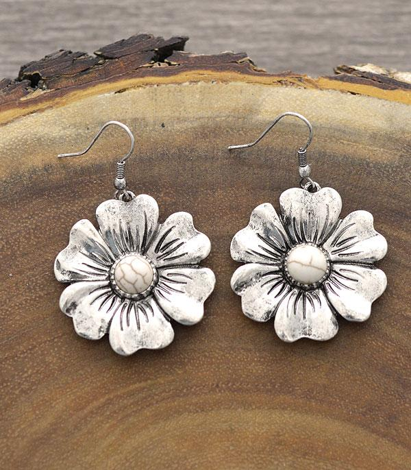 New Arrival :: Wholesale Flower Semi Stone Dangle Earrings