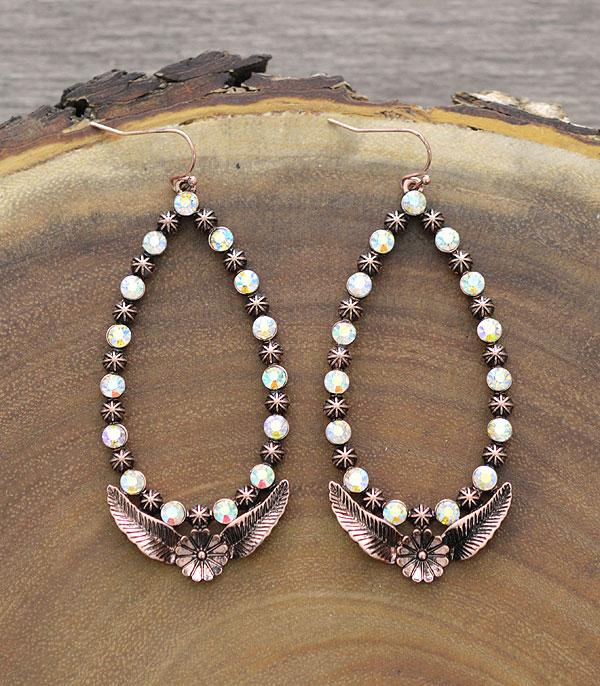 New Arrival :: Wholesale Western Teardrop Rhinestone Earrings