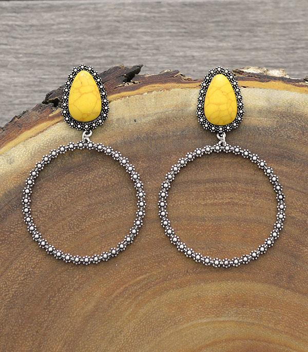 New Arrival :: Wholesale Western Stone Post Hoop Earrings