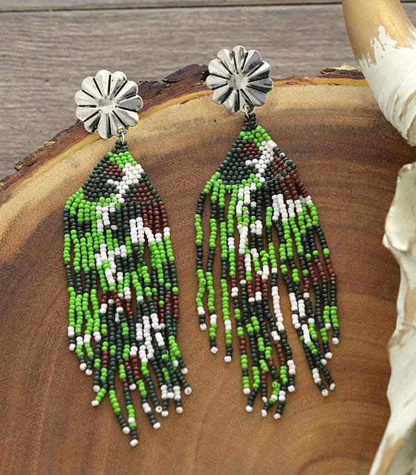 New Arrival :: Wholesale Tipi Western Seed Bead Tassel Earrings