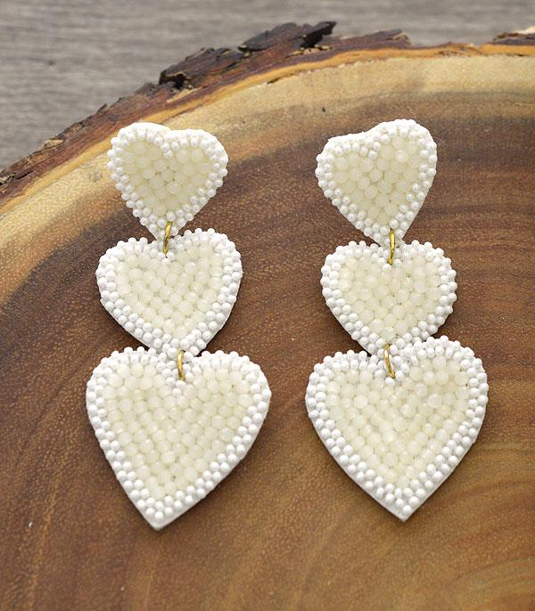 New Arrival :: Wholesale Seed Bead Heart Drop Earrings