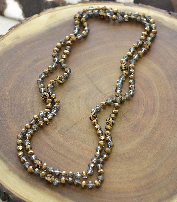 "New Arrival :: Wholesale 60"" Leopard Glass Bead Necklace"