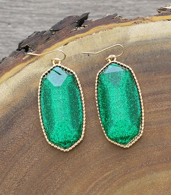 New Arrival :: Wholesale Glitter Resin Dangle Earrings