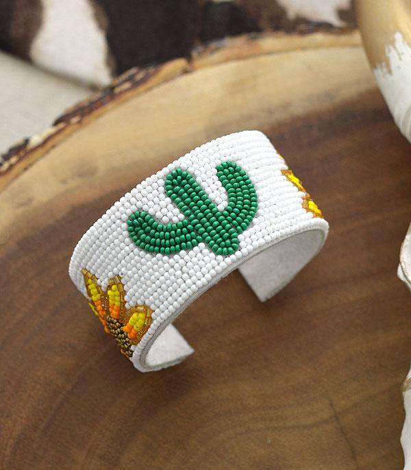 New Arrival :: Wholesale Seed Bead Cactus Sunflower Cuff