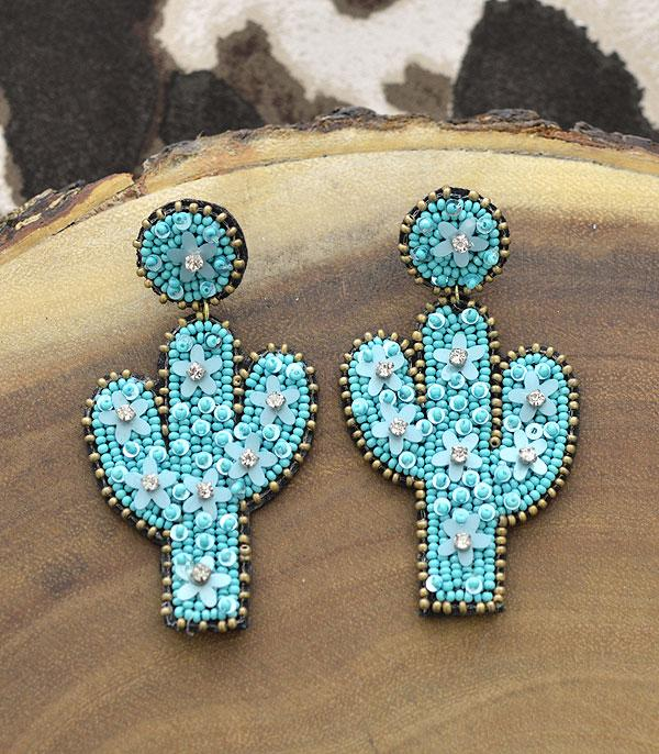 New Arrival :: Wholesale Seed Bead Cactus Earrings