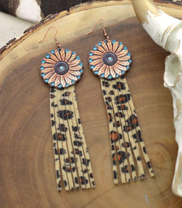 New Arrival :: Wholesale Leather Flower Tassel Earrings