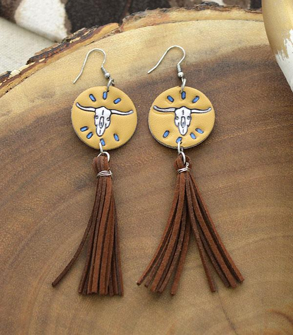 New Arrival :: Wholesale Genuine Leather Western Tassel Earrings