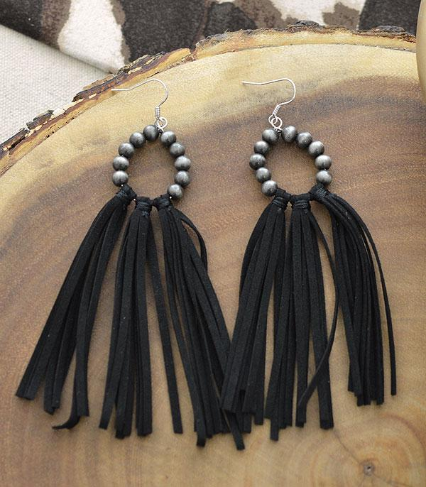 New Arrival :: Wholesale Navajo Pearl Bead Leather Tassel Earring