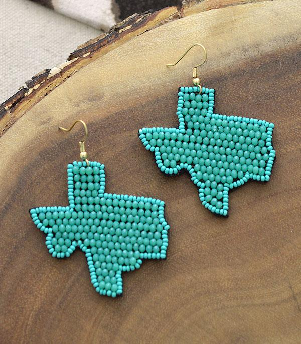 New Arrival :: Wholesale Seed Bead Texas Map Earrings