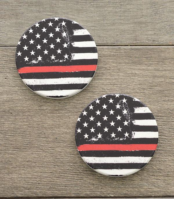 New Arrival :: Wholesale US Flag Red Line Car Coaster Set