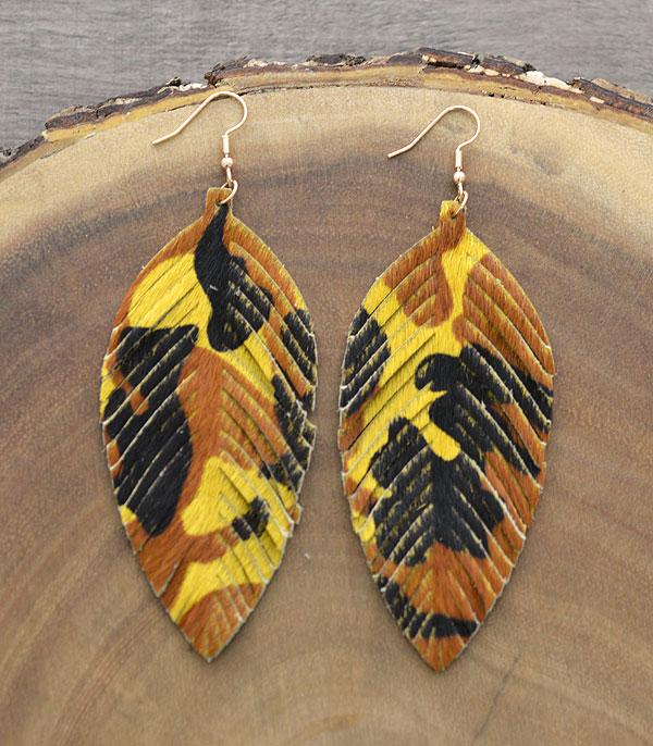New Arrival :: Wholesale Genuine Leather Camo Print Earrings