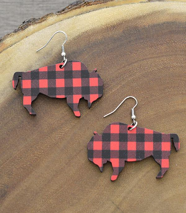 New Arrival :: Wholesale Tipi Plaid Buffalo Wood Earrings