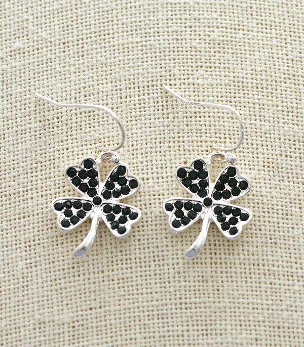 New Arrival :: Wholesale Rhinestone Clover Dangle Earrings