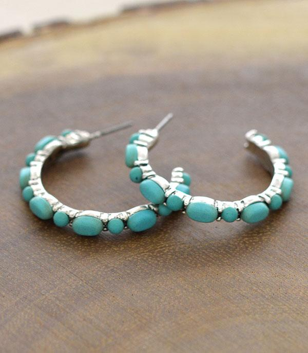 <font color=Turquoise>TURQUOISE JEWELRY</font> :: Wholesale Turquoise Western Hoop Earrings