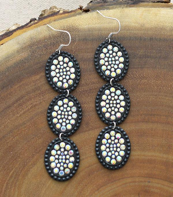New Arrival :: Wholesale Oval Casting Stone Drop Earrings
