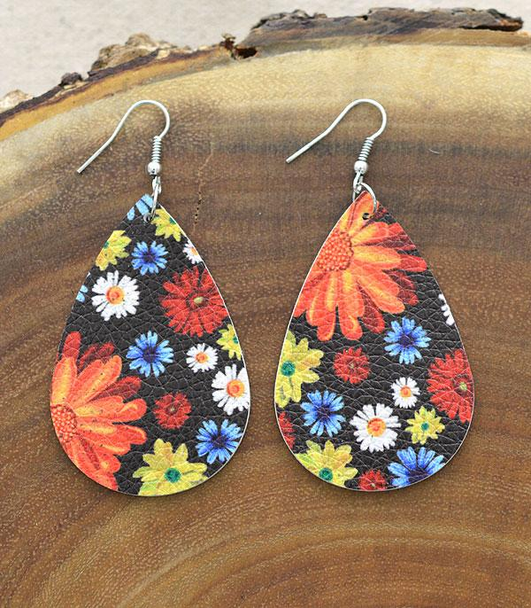 New Arrival :: Wholesale Floral Print Teardrop Earrings
