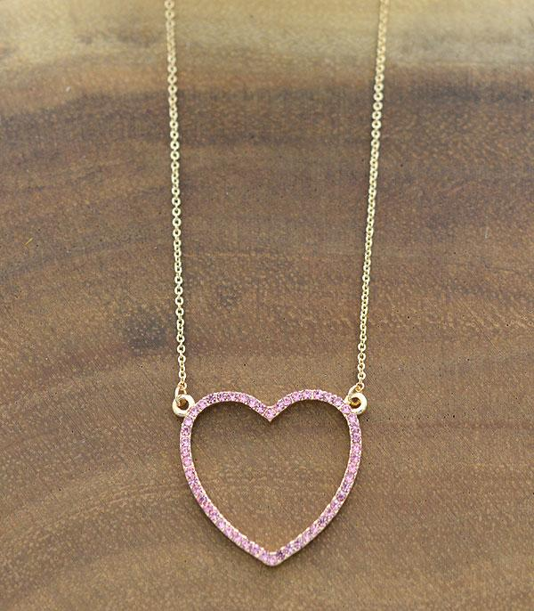 New Arrival :: Wholesale Rhinestone Pink Heart Necklace