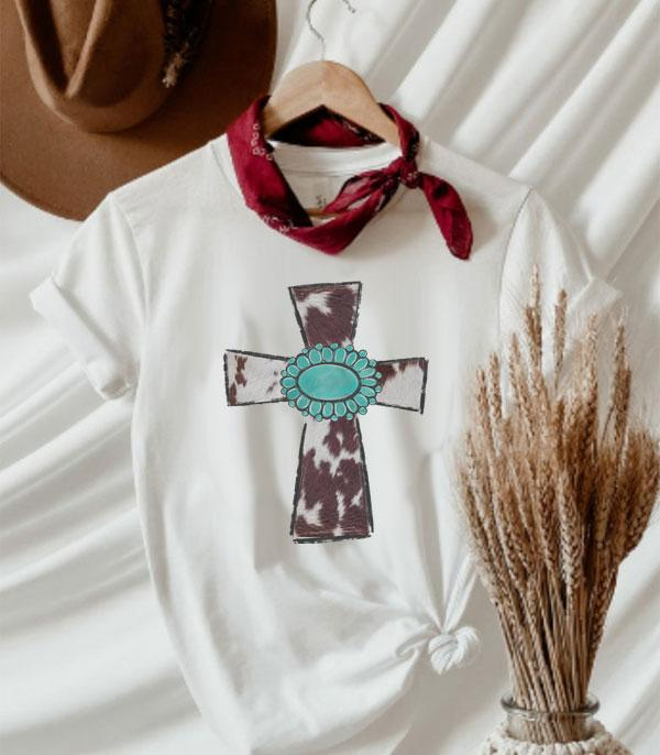 New Arrival :: Wholesale Western Cowhide Cross Graphic Tshirt