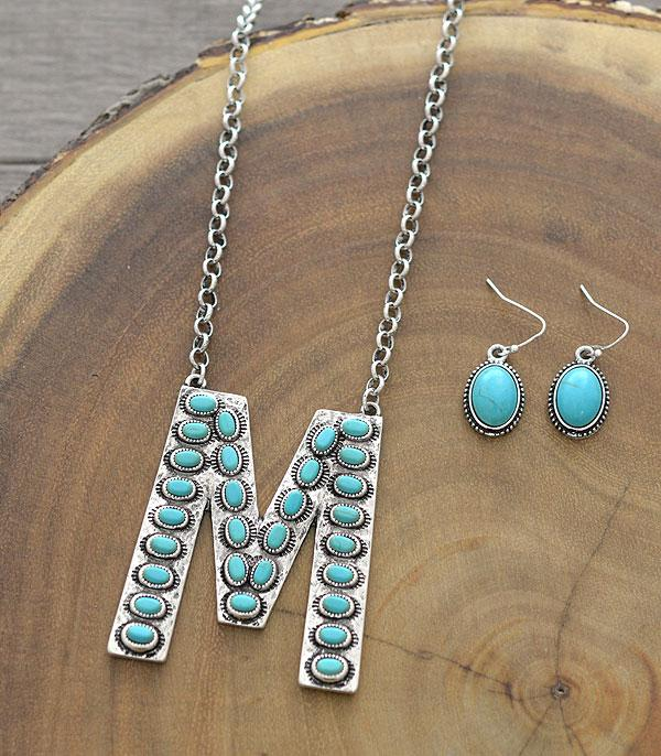 New Arrival :: Wholesale Tipi Western Turquoise Initial Necklace