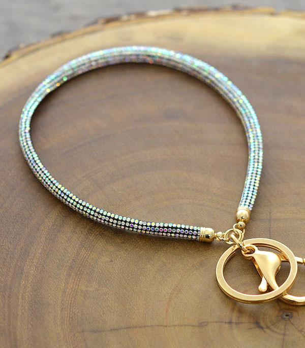 New Arrival :: Wholesale Thin Bling Stone Wrist Strap Keychain