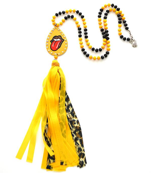 New Arrival :: Wholesale Teardrop Tongue Lips Tassel Necklace