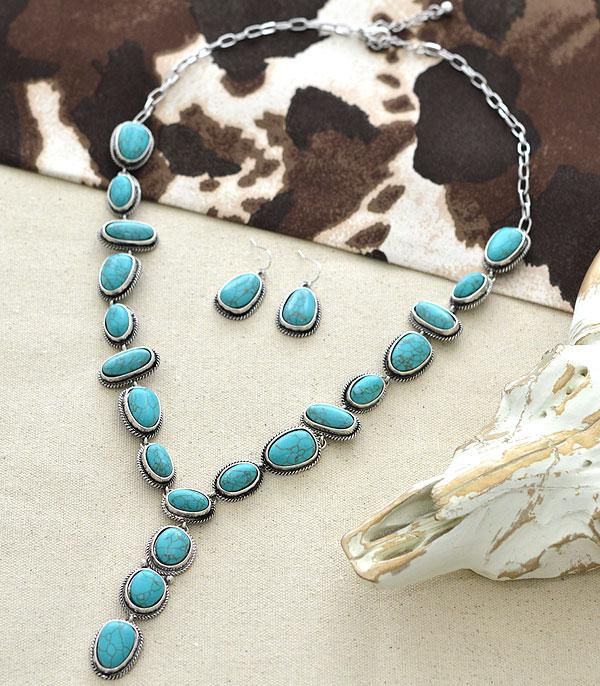 <font color=Turquoise>TURQUOISE JEWELRY</font> :: Wholesale Tipi Western Stone Y Necklace Set