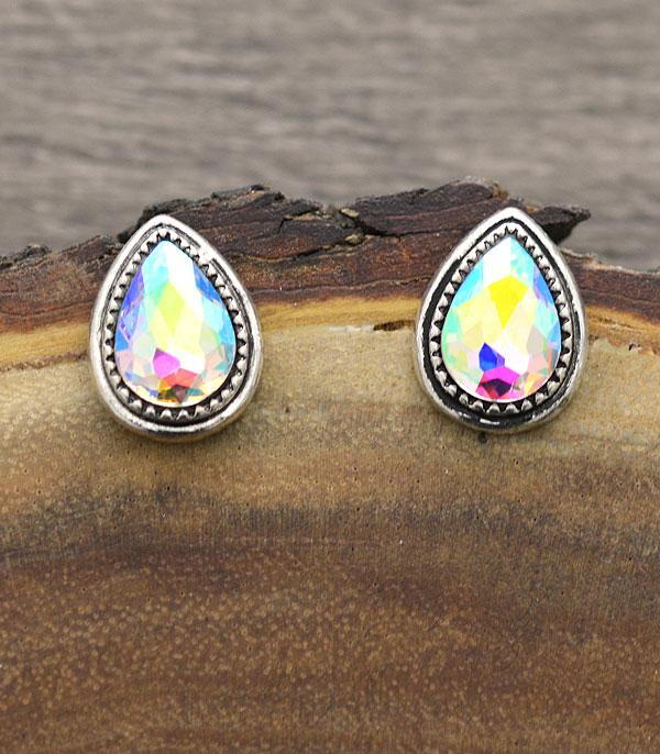 New Arrival :: Wholesale Teardrop Glass Stone Post Earrings
