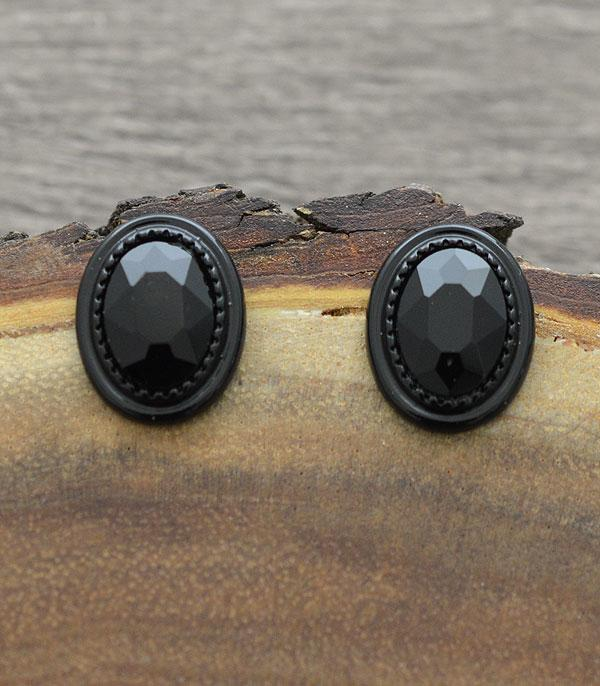New Arrival :: Wholesale Oval Glass Stone Post Earrings