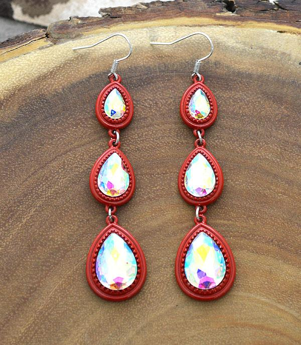New Arrival :: Wholesale Light Metal Glass Stone Drop Earrings