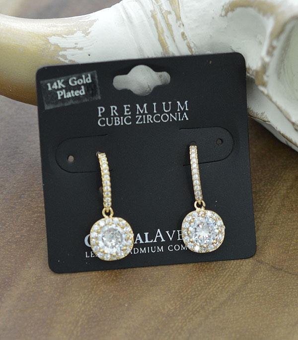 New Arrival :: Wholesale Cubic Zirconia Cushin Cut Dangle Earring
