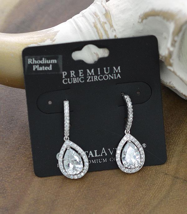 New Arrival :: Wholesale Halo Cubic Zirconia Teardrop Earrings