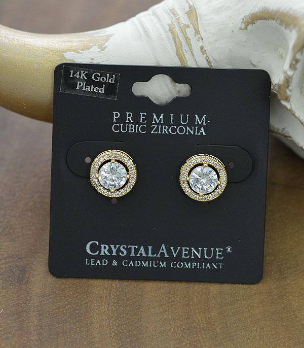 New Arrival :: Wholesale Cubic Zirconia Halo Post Earrings