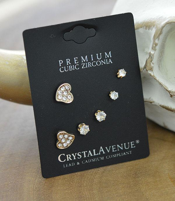 New Arrival :: Wholesale 3PC Set Cubic Zirconia Earrings