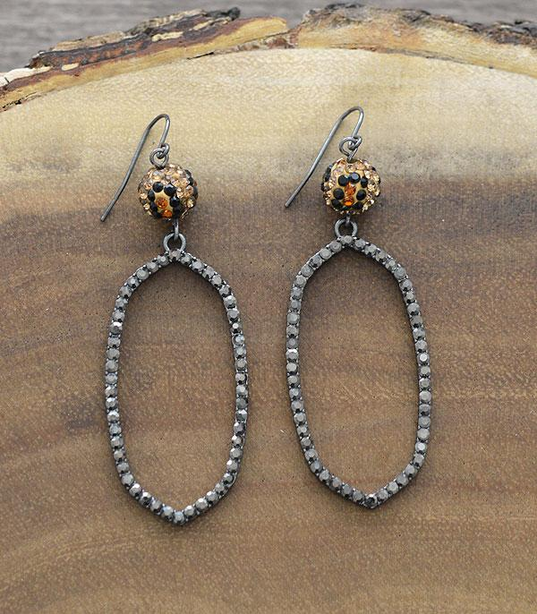 New Arrival :: Wholesale Leopard Fireball Rhinestone Earrings