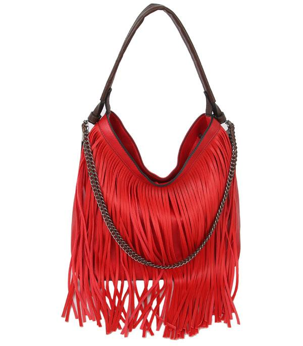 New Arrival :: Wholesale Faux Leather Boho Fringe Hobo Bag