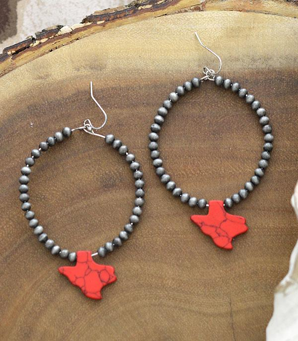 New Arrival :: Wholesale Texas Map Stone Navajo Bead Earrings