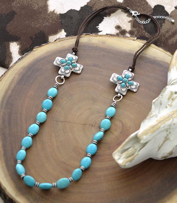 New Arrival :: Wholesale Western Cross Concho Turquoise Necklace