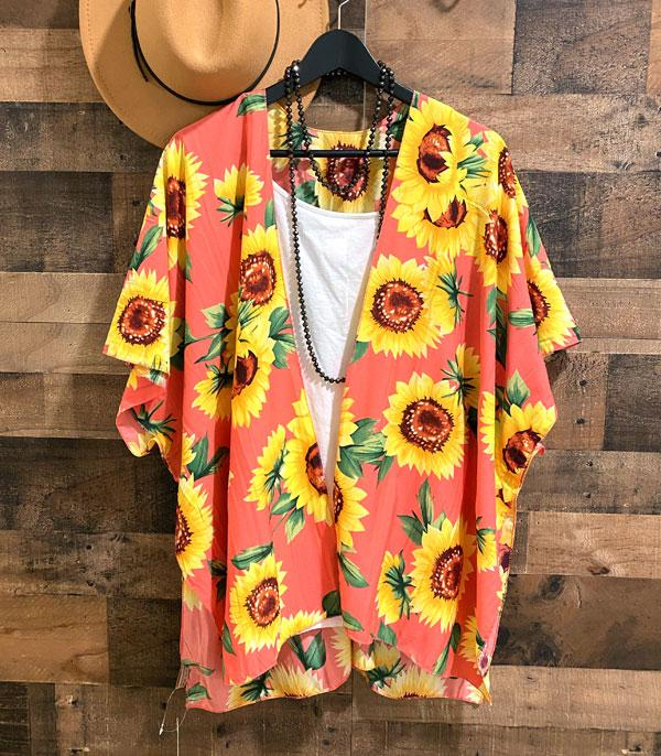 New Arrival :: Wholesale Sunflower Print Kimono Cover Up