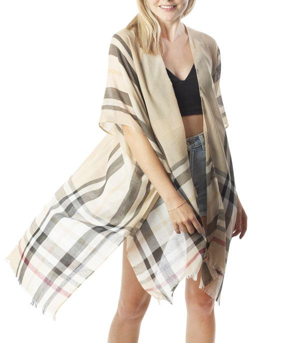 New Arrival :: Wholesale Soft Light Weight Plaid Kimono
